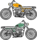 Vintage retro motorcycle freehand vector art file Royalty Free Stock Photo