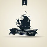 Vintage Retro Nautical Badge with Boat Royalty Free Stock Images
