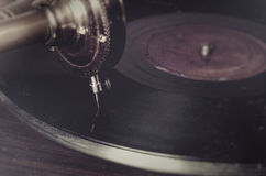 Vintage retro needle on a record gramophone Stock Photo