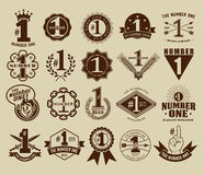 Vintage Retro The Number One # 1 Seals and Badges Collection Stock Photography