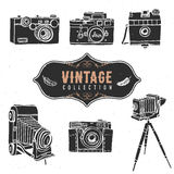 Vintage retro old camera collection. Hand drawn  Stock Photography