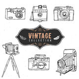 Vintage retro old camera collection. Hand drawn vector Stock Image