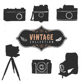 Vintage retro old camera collection. Hand drawn vector Royalty Free Stock Photography