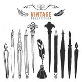 Vintage retro old nib pen brush ink collection. Hand drawn  illustrations. Vol.4 Stock Photo