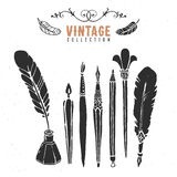 Vintage retro old nib pen brush ink collection. Royalty Free Stock Images