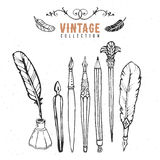 Vintage retro old nib pen brush ink collection. Hand drawn vector Stock Photos