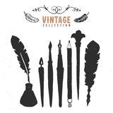 Vintage retro old nib pen brush ink collection. Hand drawn vector. Illustrations. Vol.3 Stock Images