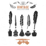 Vintage retro old nib pen feather ink collection. Hand drawn vector illustrations. Vol.9 Royalty Free Stock Photography