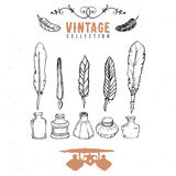 Vintage retro old nib pen feather ink collection. Hand drawn vector Royalty Free Stock Photos