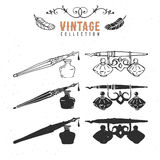 Vintage retro old nib pen ink collection. Hand drawn vector illustrations. Vol.10 Stock Image