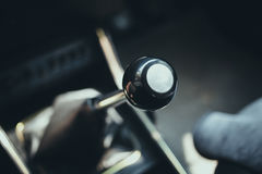 Vintage retro old style car gear lever. Vintage retro old style car gear lever for change drive gear ratio royalty free stock image