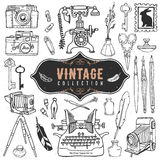 Vintage retro old things collection. Hand drawn royalty free illustration