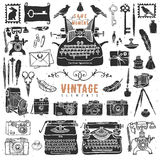 Vintage retro old things collection. Hand drawn vector illustrations Royalty Free Stock Photography