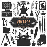 Vintage retro old things collection. Hand drawn vector Stock Image