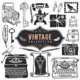 Vintage retro old things collection. Stock Photo