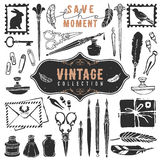 Vintage Retro Old Things Writer Crafted Collection. Royalty Free Stock Images