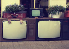 Vintage retro old tv set. Background Royalty Free Stock Photos