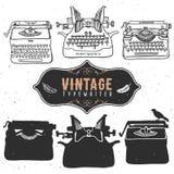 Vintage retro old typewriter collection. Hand drawn  Royalty Free Stock Image