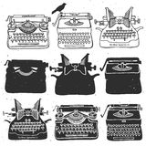 Vintage retro old typewriter collection. Hand drawn vector illus Stock Photos