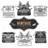 Vintage retro old typewriter collection. Hand drawn vector Stock Photo