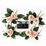 Vintage retro photo camera, beige roses and green leaves Royalty Free Stock Photography