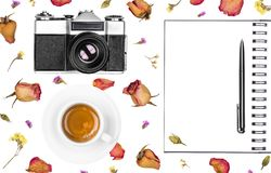 Vintage retro photo camera, notepad, pen, coffee cup and dried flowers isolated on white background. Flat lay. Vintage retro photo camera, notepad, pen, coffee royalty free stock photo