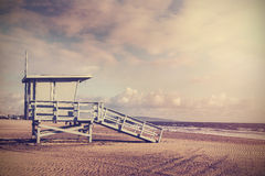 Vintage Retro Picture Of Wooden Lifeguard Tower, Beach In California, USA. Stock Photography