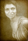 Vintage retro portrait of one classic woman stock photos