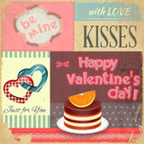 Vintage Retro Postcard to the Valentines Day Royalty Free Stock Photography