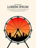 Vintage retro poster background with ferris wheel and cityscape. Design element template can be used for backdrop, brochure, leaflet, vector illustration Royalty Free Stock Photo