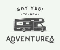 Vintage retro poster with camper. Say yes to new adventures. Graphic Art. Vector Illustration Stock Image
