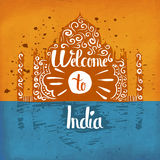 Vintage retro poster handlettering on the topic of tourism in India. Welcome to India. Royalty Free Stock Photo