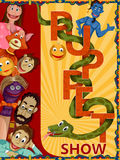 Vintage retro Puppet Show banner poster design Royalty Free Stock Image