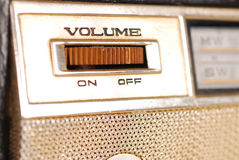 Vintage Retro Radio. Close-up of Volume knob of a Vintage Retro Radio transistor box Royalty Free Stock Photos