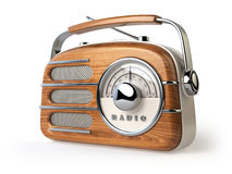 Vintage retro radio receiver  on white. Stock Photo