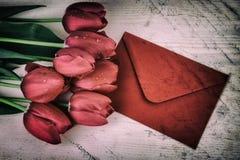 Vintage Retro Red Tulips Still Life Stock Photo