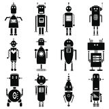 Vintage retro robots icons set in black and white. 