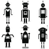 Vintage retro robots icons set in black and white set of 6 Royalty Free Stock Image