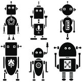 Vintage retro robots 2 icons set in black and white set of 6 Stock Images