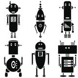 Vintage retro robots icons set in black and white set of 6  ( set B). Graphic Stock Images