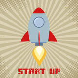 Vintage Retro Rocket Start Up. Concept Flat Style Illustration With Text Stock Image