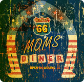 Vintage retro route 66 Diner sign Stock Photos