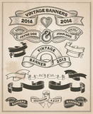 Vintage retro scroll and banner set Stock Image