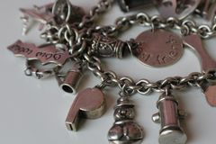 Vintage Retro Silver Charm Bracelet stock photo