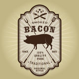 Vintage Retro Smoked Bacon Seal Stock Photography