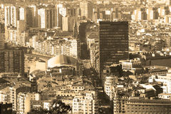 Vintage retro style photography of Bilbao cityscape, Bizkaia, Ba Stock Images