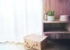 Vintage Retro Style Room. Decorated by Hat, Suitcase, Candle Light and Tree Pot. Interior Design Concept stock photography