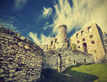 Vintage retro style ruins of castle. Stock Photography