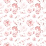 Vintage retro style seamless pattern with women portrait and delicate pink flowers on white background. royalty free illustration