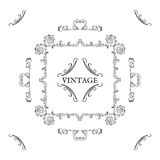 Vintage, retro style. Vector design elements and lettering, blac. K patterns on white background. Collection for invitations. Ornaments and frame Royalty Free Stock Images